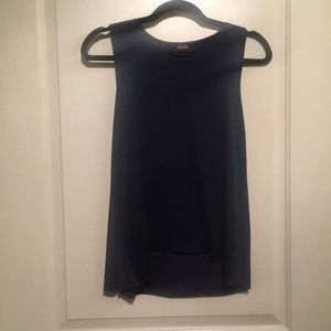 Navy blue tank top with suede front